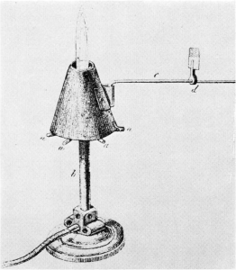 Adapted Bunsen burner for studies with the blowpipe