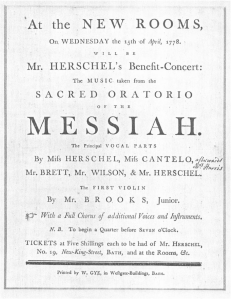 Poster advertising Handel's Messiah. Caroline appears as first soloist above the well known Miss Cantelo.