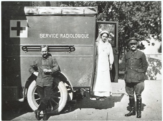 Irene Curie on a mobile x-ray unit, 1916 (unknown source)
