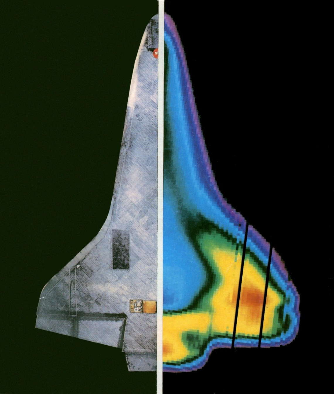 An infrared image of the underside of the Space Shuttle showing variation in temperature during reentry (Photo credit: NASA)