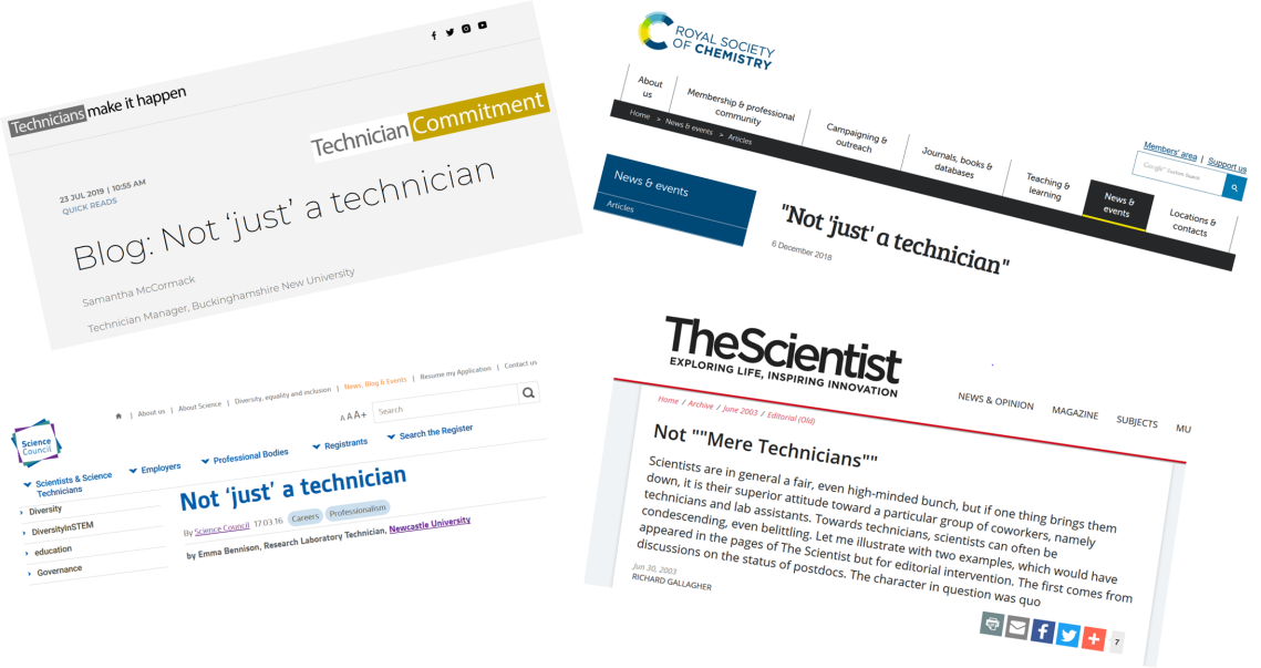 Blog posts written by and for technicians that illustrate the perceived status of technicians.